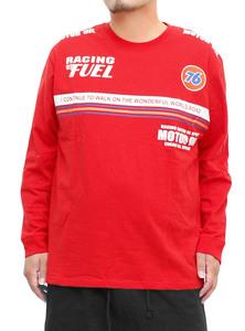 【新品】 3L レッド 76 Lubricants(ナナロク) 長袖 Tシャツ メンズ 大きいサイズ ロゴ プリント クルーネック カットソー