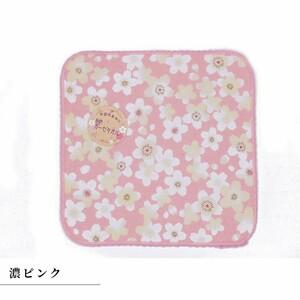 抗菌防臭加工 和柄ガーゼタオルはんかち 濃ピンク 桜