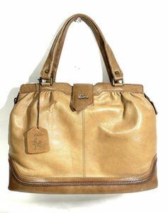 NESELA 手染め本革カジュアルデザインハンドバッグ ブラウン レザー トートバッグ ファッション 鞄 バッグ