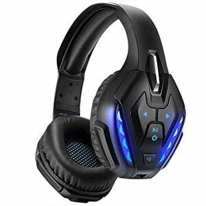 △○★ブルー… PHOINIKAS ゲーミングヘッドセット ワイヤレス 無線 ヘッドホン ヘッドフォン PS4対応 Blueto