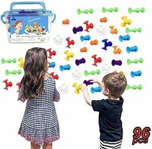 ◆○○新感覚知育ブロック 98個セット 吸盤 おもちゃ 知育玩具 積み木 組み立て お風呂のおもちゃ オリジナル 誕生日 ハロウ