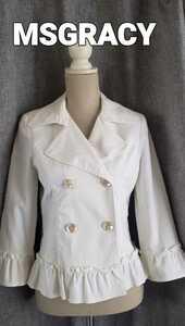 大変美品 エムズグレイシー 白いテーラードジャケット ダブル コットン 春夏