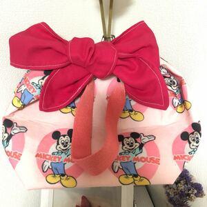ミッキー ディズニー ハンドメイドバッグ ランチバッグ お散歩バッグ リボンバッグ
