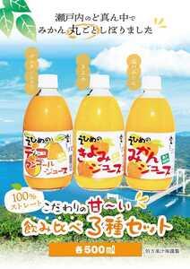 愛媛県産100%ストレート果汁あま~い!味比べ3種セット!みかん、きよみ、デコタン(不知火)500㎜3種×4本、12本入みかんジュース