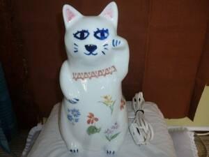 retro Showa era .. face cat ornament ( ceramics ) lamp shade height approximately 27cm