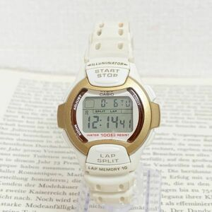 ★CASIO ILLUMINATOR 多機能 デジタル 腕時計 ★カシオ イルミネーター LW-110H アラーム クロノ ホワイト×ゴールド 稼動品 F3769