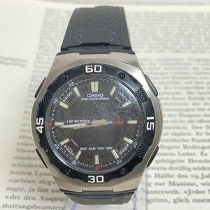 ★CASIO ILLUMINATOR 多機能 デジアナ 腕時計 ★カシオ イルミネーター 2針 AQ-164W アラーム クロノ タイマー シルバー 稼動品 F3798