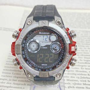 ★ ARMITRON 多機能 デジタル メンズ 腕時計 ★ アーミトロン アラーム クロノ タイマー シルバー 稼動品 F4003