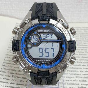 ★ ARMITRON デジタル 多機能 メンズ 腕時計 ★ アーミトロン アラーム クロノ タイマー シルバー 稼動品 F4044