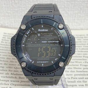 ★ ARMITRON デジタル 多機能 メンズ 腕時計 ★ アーミトロン アラーム クロノ タイマー ブラック 稼動品 F4085
