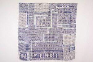 フェンディ 85cm 大判 スカーフ シルク100% ロゴ プリント 幾何学 シフォン 透け感 ストール バンダナ 紺 ネイビー 良品 FENDI 4884k