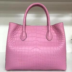 超キレイ おススメ レディースバッグ クロコダイルレザー ワニ革 バッグ 2way斜め掛けショルダーバッグ ハンドバッグ ピンク