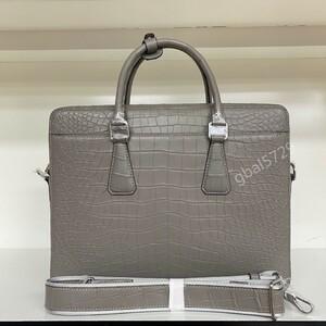 最高級 マットクロコダイル ワニ革 本革 レザー 腹革使用 ブリーフケース ビジネス 手提げ 鞄 A4/PC対応 メンズ ハンドバッグ グレー