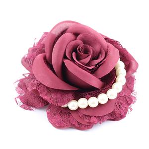 コサージュ/エレガント お花 薔薇 パール ヘアクリップ 安全ピン c62☆ワインレッド/髪飾り 入学式 卒業式 入園式 卒園式 結婚式
