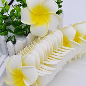 【1円スタート】なんと50個セット!! 造花 プルメリア 花の部分だけ 7cm ホワイト♪フラワーアレンジメント 結婚式 装飾 インテリア it154*