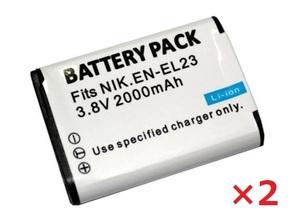 送料無料 2個セット NIKON ニコン EN-EL23 2000mAh 互換バッテリー 残量表示可能 純正充電器で充電可能 COOLPIX B700 MH-67P 互換品