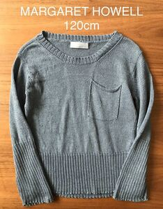 美品!【MARGARET HOWELL/マーガレットハウエル 】リネン100% サマー ニット セーター 薄手 ライトブルー サイズ120cm スコットランド製