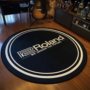 ローランドデザイン丸60cm 高品質ラグ ピアノやドラムの下マットに演奏する部屋にRolandマークLOGOがデザインされたベルベット生地で激シブ