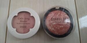 化粧品 チーク ピンク系 二点セット ほぼ新品 コスメ 鏡付き 未使用筆付き コンパクトケース 可愛い