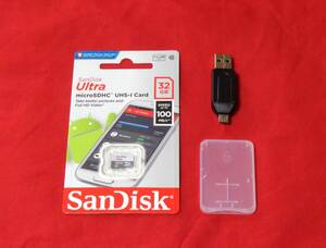 【送料無料】 新品未開封品 32GB SanDisk microSDカード +クリアケース + カードリーダーセット(サンディスク マイクロSD SDHC規格)