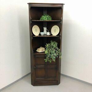 アーコール コーナーキャビネット マホガニー材 アンティーク 家具 木製 イギリス 英国 シェルフ ビンテージ家具 店舗什器 輸入家具 650A