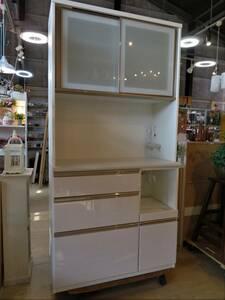 【愛知店舗】 ●美品● ニトリ NITORI キッチンボード 食器棚 アルミナ2 白 ホワイト キッチン収納 収納棚 幅100cm