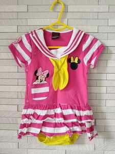 ベビードール ミニーマウス セーラー襟 半袖 ロンパース ピンク 女の子 80