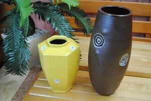 su600* цветок бутылка 2 пункт * керамика производства / чай цвет серия / желтый цвет серия / цветок inserting / ваза для цветов / цветок основа / мир современный / шестиугольник / круг / интерьер