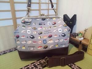 和食 寿司 猫 にゃんこ グレー ネコ お寿司 日本 がま口 3way ショルダー バッグ ハンドメイド 手提げ 斜めかけ 和装 着物 長財布 入ります