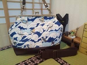 波乗り 猫 サーフィン にゃんこ ブルー 青 ネコ がま口 3way ショルダー バッグ ハンドメイド 手提げ 斜めかけ 和装 着物 長財布 入ります