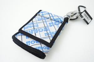 新品 14/15 ST GLOVE 鏡付き パスケース 財布 ワイヤーが伸びる カラビナ付き スノーボード スキー リフト券入れ WHITE×BLUE #118