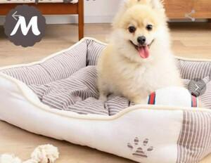 (お値下げ) 肉球マーク ストライプ柄 犬猫 ペットベッド