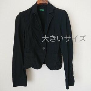 コットン ストレッチ テーラードジャケット 黒 大きいサイズ ブラック