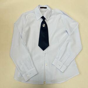 HIROMICHI NAKANO ヒロミチナカノ ドレスシャツ 無地 薄いブルー ボタンダウン 長袖 165 ネクタイ付き