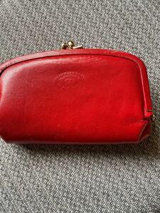 がま口ポーチ 鏡付き がま口財布 長財布 小銭入れ 赤
