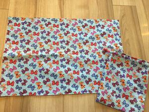 ●ハンドメイド●カラフルなリボン ランチョンマット40×60&巾着袋 水色