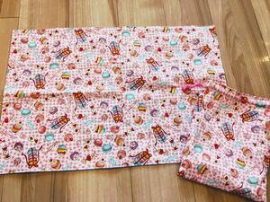 ●ハンドメイド●マカロン*スイーツ ランチョンマット40×60&巾着袋 ピンク