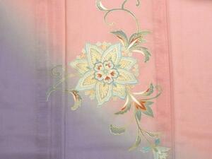 洗える着物 夏 附下げ 絽 ピンクに紫 ぼかし 仕立上り 001
