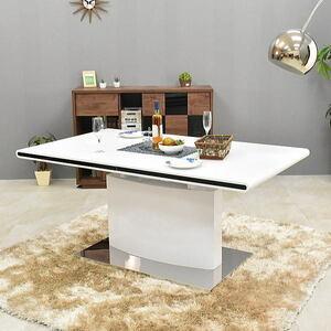 ST11-16CZU-KC=【即決 新品 未使用品】鏡面仕上げホワイト伸張式ダイニング幅160-200cm家具テーブル食卓4人~6人掛けWHモダンアウトレット