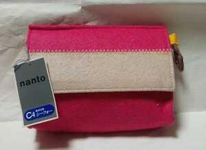 フェルト化粧ポーチ ハンドバッグ 小物入れ ピンク系 ミラー付き