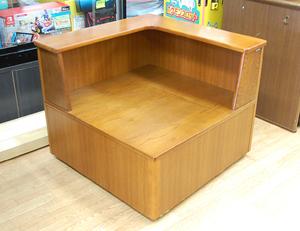 カリモク コーナーテーブル 幅75×奥行75×高さ62cm 収納付き 木製 ブラウン系 karimoku 札幌発