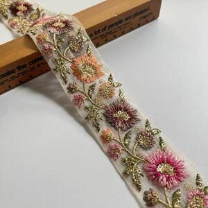 インド刺繍リボン オーガンジー 花柄 アンティーク ヴィンテージ レース タッセル ボタン アクセサリー ピアス イヤリング パール