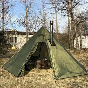 3人用 ワンポールテント 全高220cm グリーン 設営簡単 軽量 コンパクト 持ち運び便利 2人用 ソロ キャンプ ツーリング