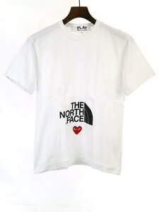 PLAY COMME des GARCONS×THE NORTH FACE プレイコムデギャルソン×ザ ノースフェイス 20SSハートロゴTシャツ ホワイト S メンズ