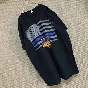ギルダン 半袖Tシャツ カレッジロゴ アニマル柄 タイガー 星条旗69 XL アメリカ国旗 トラ ビッグプリント ゆるだぼ ビッグサイズ