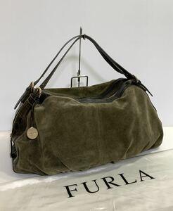 フルラ FURLA レディース レザー ハンドバッグ ボストンバッグ バックスキン×クロコダイル型押し 本革 オリーブ系 横47×縦28×マチ13cm