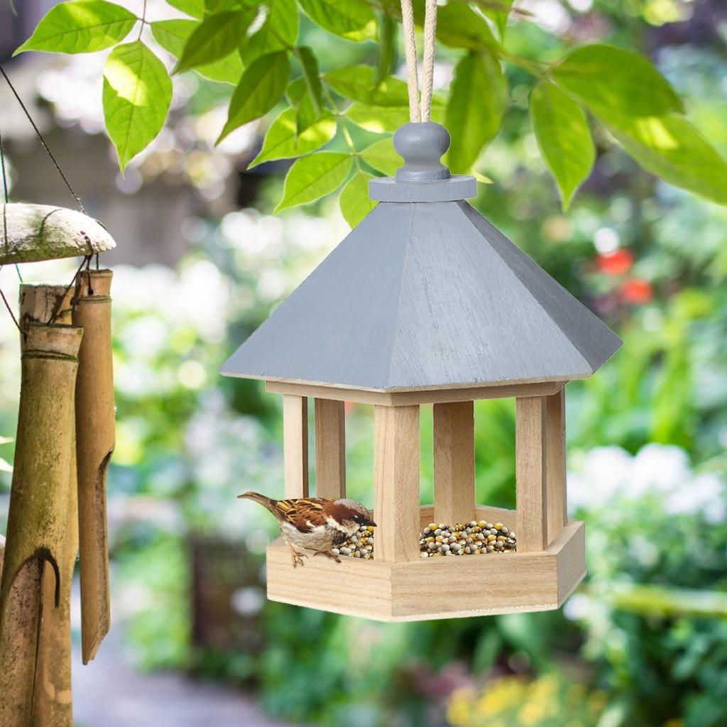 【送料無料】木製の鳥のエサ台 餌箱 庭に鳥を呼び込むアイテム バードウォッチング ガーデニングに