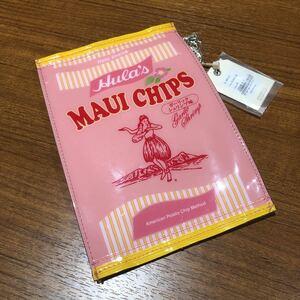 〈送料無料〉マウイチップス ポーチ フラ印 ピンク アコモデ 小物入れ パッケージポーチ