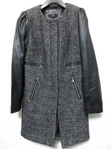 H&M フェイクレザースリーブ ノーカラーコート 黒 ブラック 34 北2545