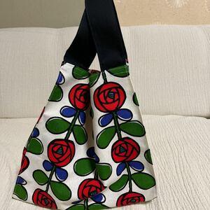 ハンドメイド コンビニバッグ エコバッグ 赤い薔薇